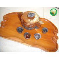 腾冲木雕,天然黄龙玉招财进宝茶壶配四个杯子,红豆杉茶盘3件套