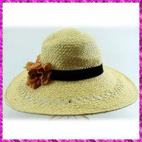 帽厂定制沙滩大沿帽 夏季防晒花朵宽边遮阳帽  女士草帽生产商
