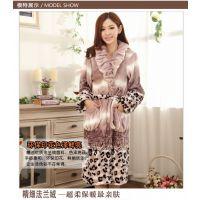 秋冬季新款豹纹法兰绒女保暖睡袍裙 中长款睡衣加厚浴袍睡裙S2213