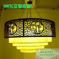热销羊皮吊灯古典木头灯圆形羊皮灯现代中式吊灯客厅灯餐厅灯竹叶