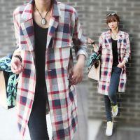 韩国代购2014秋季新款韩版大码清新格子翻领薄款棉麻风衣外套女
