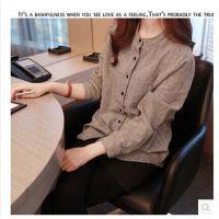 2014秋韩版格子衬衫长袖棉麻上衣中长款大码女休闲打底衫