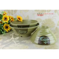 日式餐具汤碗韩式如意面碗密胺仿瓷大碗塑料横纹海碗深米饭泡面碗