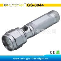 GS-8044 19LED六边铝合金手电筒 3节7号干电池 家居强光照明 畅销