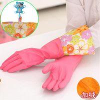 韩式家居乳胶手套 花袖手套 带挂扣家务手套 加绒保暖型L号42CM