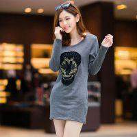 2014秋冬新款韩版加绒加厚T恤中长款骷髅头打底衫女装