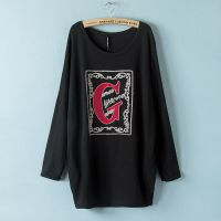 GT秋装新款大码女装胖mm绣花字母G长袖T恤衫打底衫