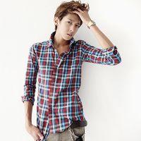 2014秋装衬衫男式长袖格子衬衣男修身彩色格子衬衫