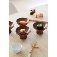 出口日本 国内无售 精致酸枣木高脚糕点托盘 木质高脚果盘 寿司盘