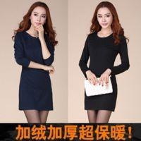 加绒加厚2013韩版宽松t恤大码泡泡袖性感显瘦打底包臀连衣裙