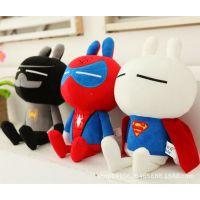 新款披风超人毛绒玩具兔斯基蜘蛛侠造型兔子公仔蝙蝠侠正版