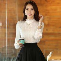 2014秋季新品蕾丝加厚打底衫 韩版立领长袖白色蕾丝女士衬衫