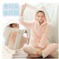 #蝴蝶结长耳兔珊瑚绒睡衣可爱日系睡裙秋冬季女士长袖家居服