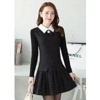 2014秋冬装新款 韩版翻领时尚修身波点毛呢连衣裙