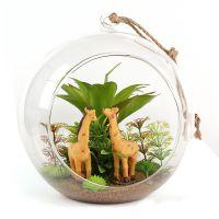 方寸世界肉多植物长颈鹿摆件苔景微景观盆水晶吊球 创意zakka礼品