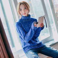 新款韩版女装蓝色点点修身短款高领毛衣针织衫打底衫