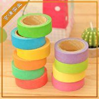 热销供应 清新可爱糖果色和纸胶带 手撕DIY彩色日本和纸胶带