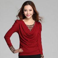 2014秋装大码女T恤韩版显瘦假两件遮肚腩豹纹网纱加绒打底衫