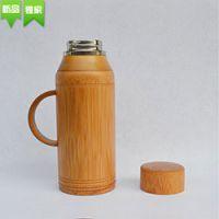 巨匠厂家定制高档欧式环保不锈钢内胆保温天然竹子老式竹水壶竹茶瓶