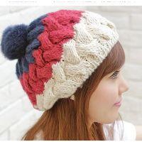 冬季新款 韩版兔毛纯手工钩针毛线帽 女士 保暖针织帽子批发
