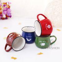 彩色仿搪瓷马克杯 Zakka日式杂货复古陶瓷杯大肚麦片早餐牛奶杯