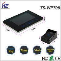 Touch key 2.4GHZ 7'' TFT video doorbell doorphone intercom video door card id intercom 1 camera with 2 monitor
