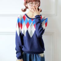 2014新款韩版圆领套头针织打底衫 蝙蝠袖学院风菱形毛衣女6208