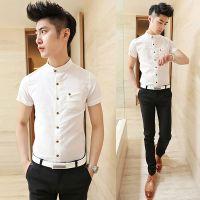 供应2014新款 时尚亚麻料立领衬衣 男士韩版修身短袖衬衫男