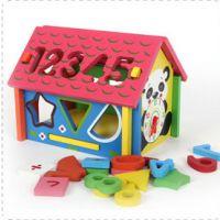 儿童木制动物熊猫数字屋子 几何形状认知配对积木盒宝宝玩具1-3岁
