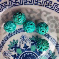 【铃进出品】批发纯天湖北然绿松石雕刻龙珠diy散珠手工材料佛珠