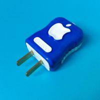 苹果LOGO型大功率加厚铜片包胶阻燃单相两极插头 插只 型号209固