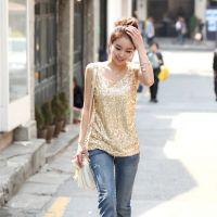 2014新款韩版女装宽松背心亮片打底衫吊带衫
