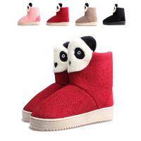 厂家直销2014新款卡通熊猫时尚可爱羊羔绒保暖中筒棉靴专柜品质