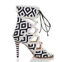 欧美时尚女靴黑白纹鱼嘴靴韩版超高跟短靴夜店镂空凉靴