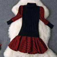 E&O 2014秋冬新款jorya同款羊毛针织立领格子印花修身显瘦连衣裙