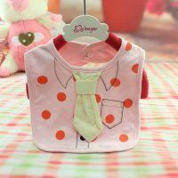 新款热销卡通多朵牛A8011 婴儿口水巾 宝宝纯棉领带款围嘴 围兜