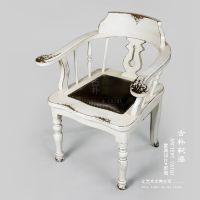 古朴彩漆 榆木餐椅 北欧实木做旧休闲椅子复古时尚皮坐垫扶手餐椅