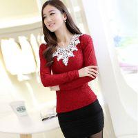 厂家直销 2014秋冬季新款韩版时尚修身蕾丝加绒长袖T恤打底衫 女