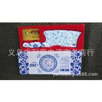 厂家现货供应展销会精美盒包装 青花瓷菜刀 不锈钢菜刀前切后砍