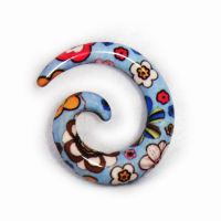 耳饰厂家直销ebay速卖通货源树脂热印花朵蜗牛耳廓夸张穿刺耳饰品