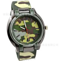 外贸热销登山运动军绿迷彩手表 五色可选迷彩硅胶手表 军表 批发