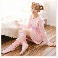 新品韩版秋冬蘑菇街新款可爱娃娃装圆点摇粒绒睡裙配袜套 p1638