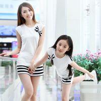 母女装夏装2014款家庭套装韩版新款春季条纹休闲运动亲子装