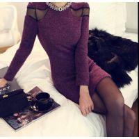 秋冬女装名媛气质小香风毛呢连衣裙修身显瘦包臀性感打底裙