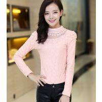 2014秋装韩版长袖蕾丝打底衫上衣 高领钉珠蕾丝小衫