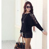2014韩版新款 百搭时尚针织 蕾丝拼接 蝙蝠袖 长袖T恤