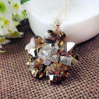 CAC1757 水晶钻石花毛衣链 环保不掉色精品挂件 女式长款配饰项链