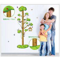 新款上市 AY9176 小熊爬树身高贴 宝宝必备 优质PVC透明膜墙贴