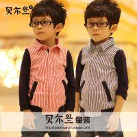 童装批发 2015春装上新 韩版男童竖条纹童衬衫 拼接袖拉链衬衫