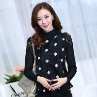 2014新款春秋装女装 韩版宽松大码雪花图案打底衫 蕾丝衫